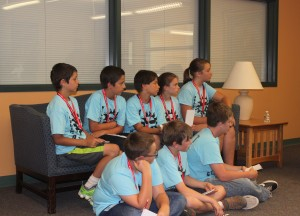 Middle Schoolers from Rindge Rec listen as Mr. Fitzwater answers their questions. (photo by Kayla Sciarretti)